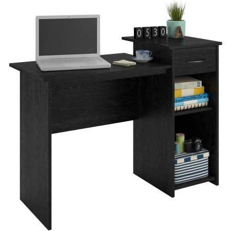 - Stylish & Affordable Student Computer Homework Desk, Great for Dorms or Apartments, Features Drawer, Adjustable & Fixed Shelf, Great Assortment of Multiple Finishes & Colors! (Black Ebony Finish)