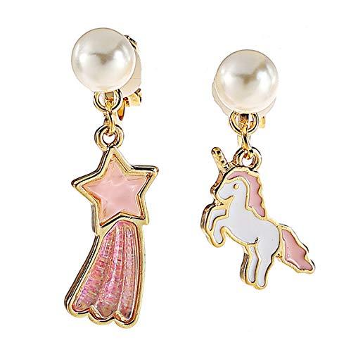 Unicorn Star Clip on Earrings Long Tassel Dangle Faux Pearl non Pierced Daughter Girls Birthday Gift