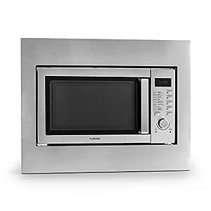 Klarstein Steelwave microondas (800 W, grill de 1.000 W, 23 l de volumen, función de descongelación, 8 programas, juego de montaje incluido) - acero