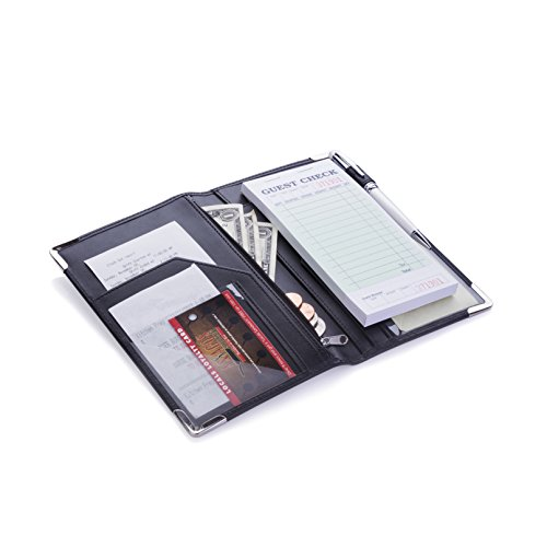 Deluxe Server Book Organizer for Restaurant Waiter Waitress Waitstaff   Comfortably Fits in Apron   9 Pockets includes Zipper Pouch with Pen Holder   Holds Guest Checks, Money, Order Pad by Sonic Server (Image #1)
