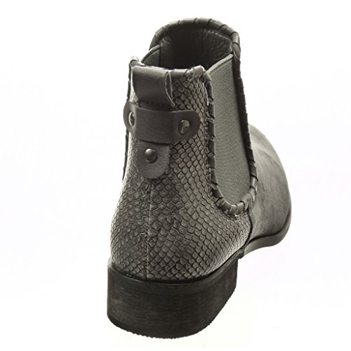 Piel Plantilla Gris Angkorly Cm Forrada Serpiente Ancho Tacón Botines Zapatillas Bimaterial 3 De Boots Tachonado Chelsea Moda Mujer Talón RRSq4a0