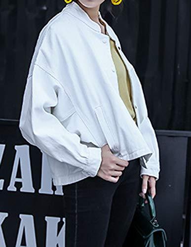 Coat Tops Manica Giacca Bianca Cappotto Bottoni Giacche Con Lunga Jacket Oufour Primavera Outerwear Casual Donna Autunno Cime E ZfAaq1
