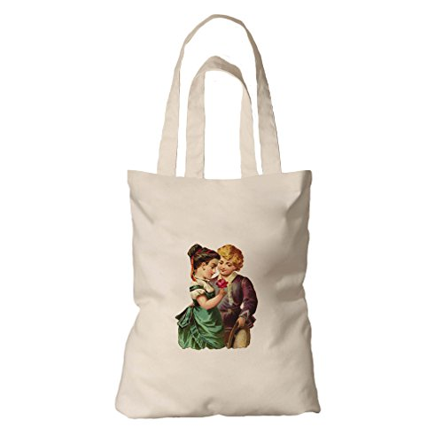Tote Bag Organic Canvas Couple Of Kid With Rose Valentines Day By Style In Print by Style in Print