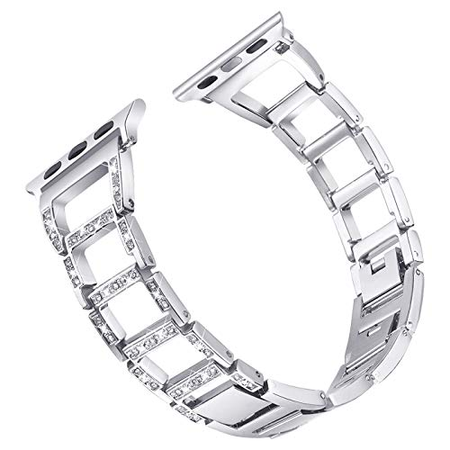 Compatible Apple Watch Band 44mm Series 4 Stainless Steel Designer Bling iwatch Bands for Women by Happiere - Diamond Rhinestone Replacement Wristband Strap for Apple Watch - Silver