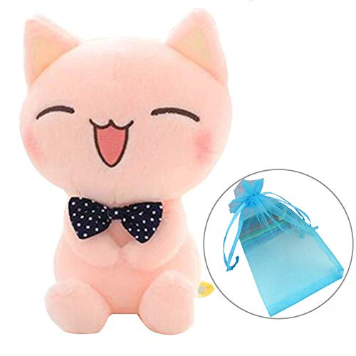 (Topyi Soft Cat Plush Toy Pink Stuffed Animals Plush Doll with Blue Organza Gift Bag, Sitting Height 11