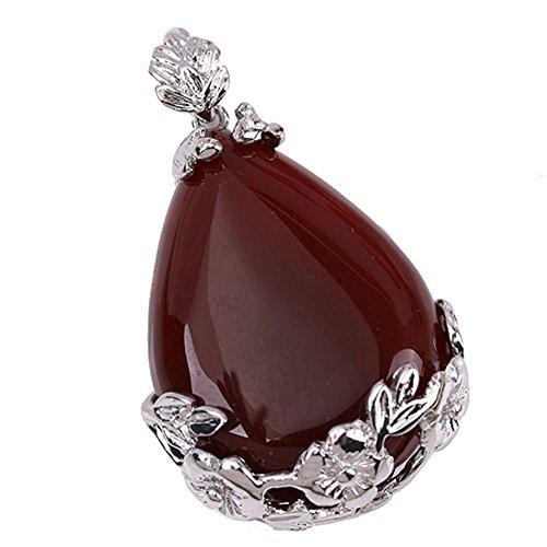JOVIVI Jewelry Making Red Agate Inlaid Teardrop Bead Pendant Necklace(Red Agate Sardonyx)
