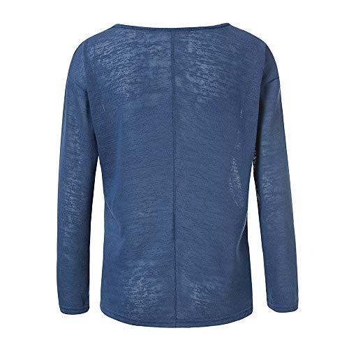 Tops Shirt Bureau Les Vetements Haut Femmes Chemise Longue Manches Blouse OVERMAL et Dcontracte Vrac Jours t en Tous Sexy Fille 1 Automne Mode Bleu Chic T 6WBSI