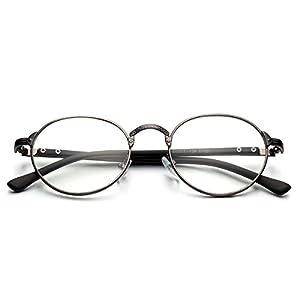 PenSee Vintage Glyph Metal Design Round Circle Clear lense Eyeglasses Glasses Frames
