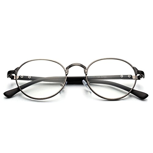 PenSee Vintage Glyph Metal Design Round Circle Clear lense Eyeglasses Glasses - Shaped Face Eyeglasses For Round