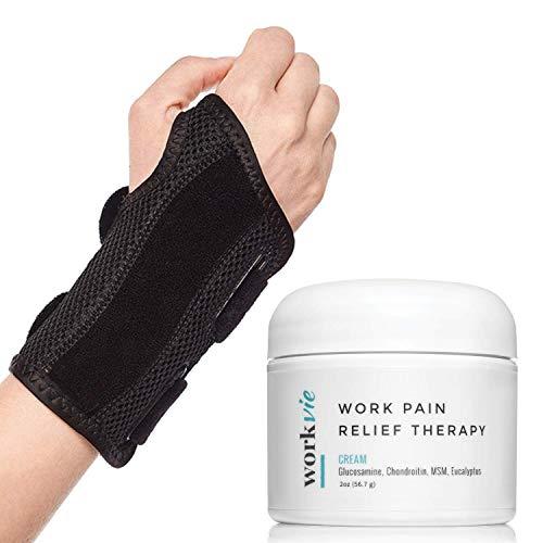 Workvie Carpal Tunnel Wrist Brace and Pain Relief Cream (2oz) Value Set- Double Splint - Adjustable- Breathable (Left)