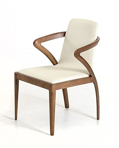 Limari Home LIM-17611 The The Malik Collection Modern Leatherette Upholstered and Solid Ash Wood Contemporary Rustic Kitchen Dining Room Chair, Walnut and Cream ()