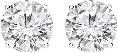 (3 Carat Round Diamond Stud Earrings G-H Color VS1-VS2 Clarity)