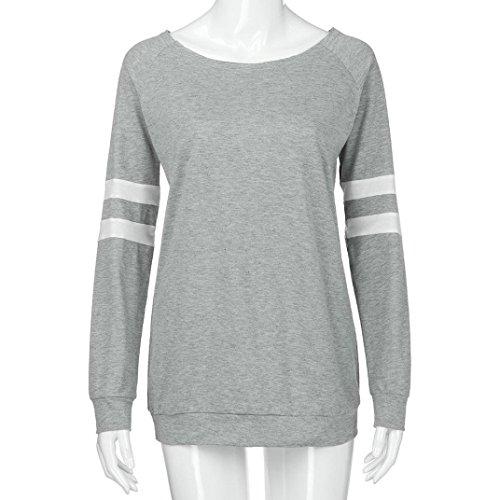 Mode Tops Femmes Shirt Longues Vtements Sexy Gris Blouse Blouse Dames Manches Splice T AMUSTER d06ZHxgd