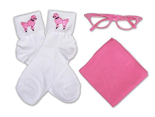 50s Costume Accessory Set Chiffon Scarf Cat Eye Glasses and Bobby Socks for Women $19.38 AT vintagedancer.com