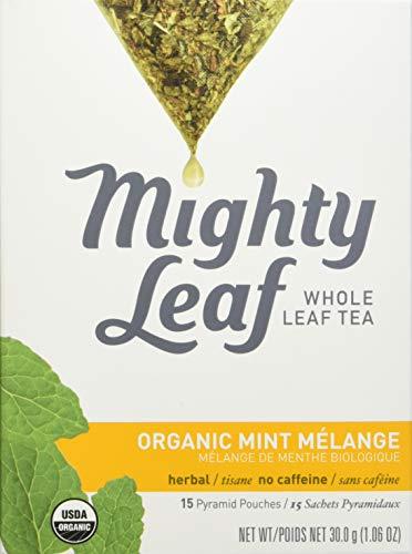 Mighty Leaf Organic Tea, Mint Melange, 15-Count Whole Leaf Pouches 1.32 Ounce (Mint Tea Leaf Mighty)
