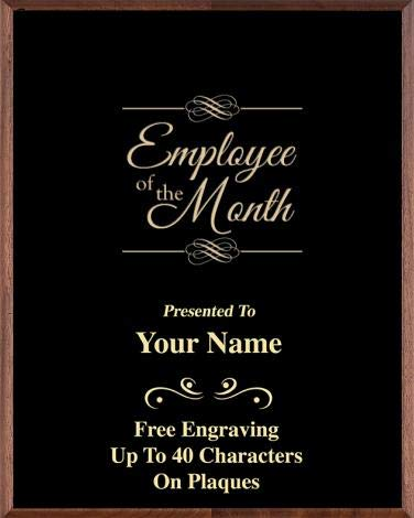 crown awards corporate employee recognition plaques 7 x 9 employee of the month gold etched