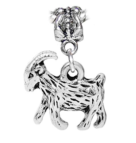 (Billy Goat Baby Ram Farm Animal Sheep Dangle Charm for European Slide Bracelets Crafting Key Chain Bracelet Necklace Jewelry Accessories Pendants)