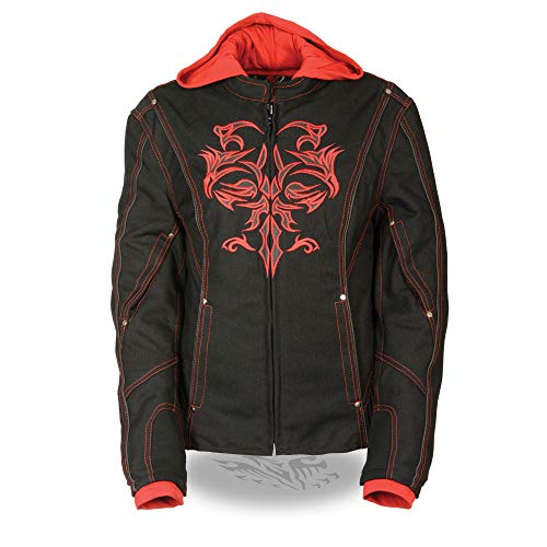 Womens 3/4 Length Leather Jacket Reflective Tribal Detail, Black / Red Size ()