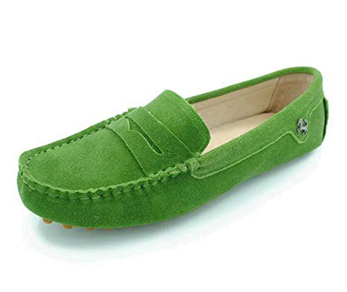 Minitoo Girls Ladies Casual Suede Leather Driving outdoor Boat Shoes Loafers Moccasins Grass Green qlWF9