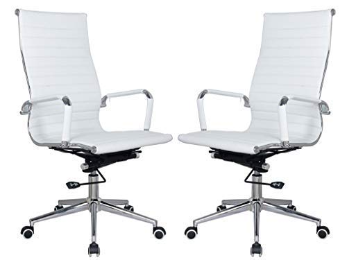 Classic Replica high Back White Office Chairs - stabilizing Swivel bar and Knee tilt with tensioner knob (White, Pack of 2). Now Save 20%!!!! IF You Buy 2 Chairs Packed Together