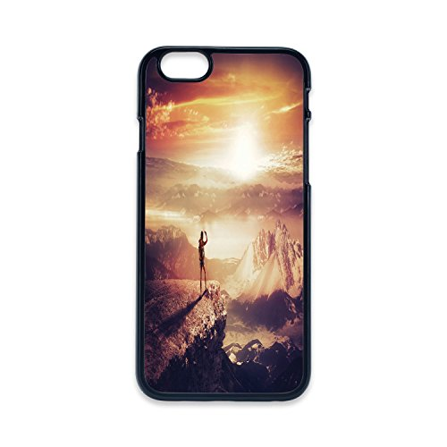 Phone Case Compatible with iPhone5 iPhone5s 2D Print Black Edge,Adventure,Traveler Woman with Backpack on Mountain Surveying Sunset Adventure Photo Print,Multicolor,Hard Plastic Phone Case ()