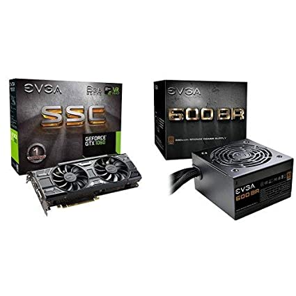EVGA GeForce GTX 1060 6GB SSC GAMING ACX 3 0, 6GB GDDR5, LED, DX12 OSD  Support (PXOC) Graphics Card 06G-P4-6267-KR with EVGA 100-BR-0600-K1 600  BR,