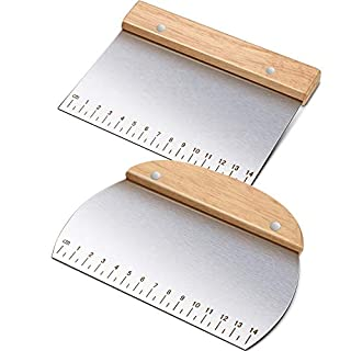 2 Pieces Stainless Steel Bench Scraper with Wood Handle Multiuse Dough Scraper Cutter Scale Printed Scrapers for Home Kitchen Cooking Baking BBQ