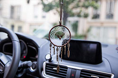 Yobeyi Dreamcatcher Car Pendant Rear View Mirror Accessories, Handmade Hanging Ornament Wall Hanging Home Decoration Bronze Gift (Deer)