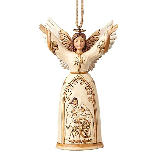 Enesco Jim Shore Heartwood Creek Ivory/Gold Nativity Angel Ornament Cream 4.75