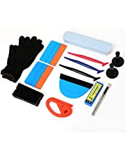 MANLI Car Window Film Tinting Tool Kit, Vinyl Wrap Installation Tools for Vehicle Glass, with Felt Squeegee, Fabric Felts, Micro Squeegee, Magnet Holders, Gloves, Blades, Knife, Cutter