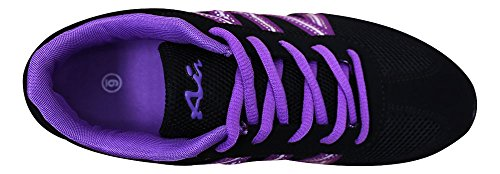 Hans Womens Breathable Mesh Striped Fashion Trainer Sneaker Black/Purple zzCnsD