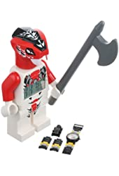 LEGO Kids' 9000874 Ninjago Fang-Suei Minifigure Clock and Cole ZX Minifigure Link 2 Pack Watch Set