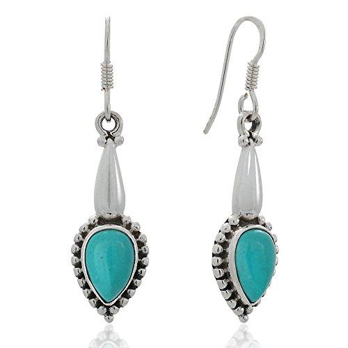 - 925 Sterling Silver Blue Turquoise Gemstones Teardrop Vintage Design Dangle Hook Earrings 1.6