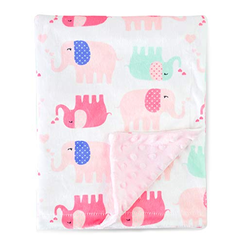 (Boritar Nursery Receiving Blankets Super Soft Minky with Double Layer Dotted Backing, Lovely Pink Elephants Printed 30 x 40 Inch)