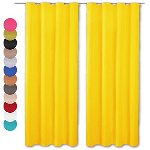 2er Set Dekoschal Microfaser Universalband, mit oder ohne Raffhalter 140 x 245 cm gelb - sonnengelb
