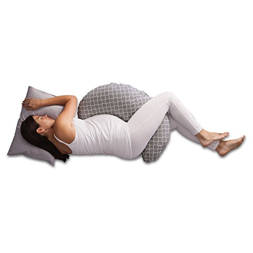 Boppy Pregnancy Support Pillow, Petite Trellis Gray and White, Body Pillow with removable jersey cover