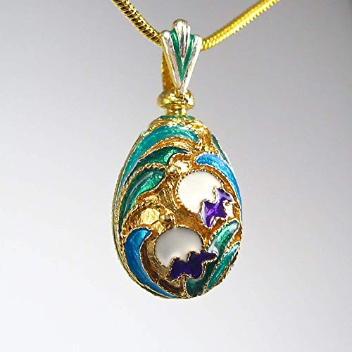Cloisonne Enamel 925 Sterling Silver Floral Design Multicolor Egg Pendant, 24k Gold-plated