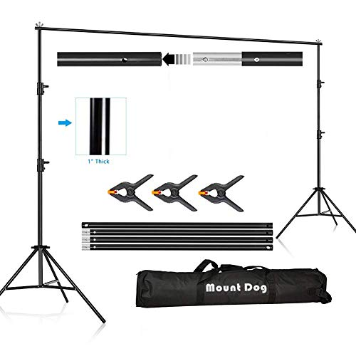 MOUNTDOG Photography Backdrop Background Stand 10ft Backdrop Support System Kit Photo Video Studio Adjustable Heavy Duty with Carrying Bag]()