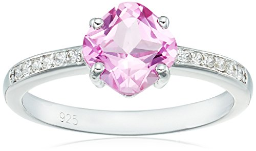 Sterling Silver Lab-created Pink Sapphire Lab-created White Sapphire Ring, Size 8