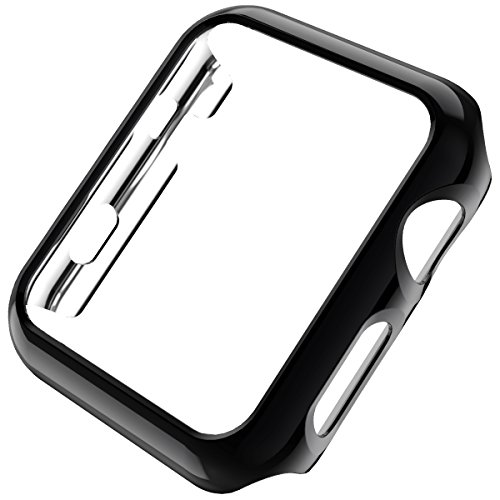 Leotop Compatible with Apple Watch Case 44mm 40mm, Super Thin PC Plated Bumper Protector Shiny Cover Lightweight Slim Shell Shockproof Frame Accessories Compatible iWatch Series 4 (Black, 44mm)