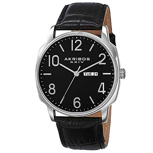 Akribos XXIV Men s Canvas Classic Watch – Clear Arabic Numerals with Date Window On a Comfortable Covered Genuine Leather Strap – AK801