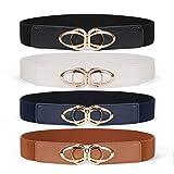 Women Skinny Belt for Dresses Retro Stretch Ladies Waist Belt Plus Size Set of 4 (Fits Waist 33-42 Inches,06-Black+Brown+White+Blue)
