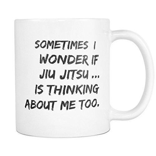 ArtsyMod I WONDER IF JIU JITSU Premium Coffee Mug, PERFECT FUN GIFT for the Brazilian Jiu Jitsu Lover! Attractive Durable White Ceramic Mug (11oz., Black Print)