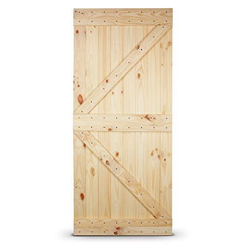 Belleze 014-HG-BD3684-F 36in.x 84in. Unfinished Knotty Pine Wood Left Arrow Design Sliding Single Barn Door, 2