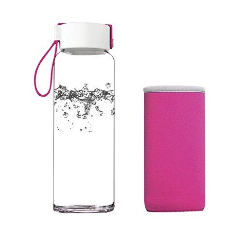 Just Life 480ml Bpa-freien Trinkflasche Glas Outdoortrinkflasche mit Schutz (Rot)