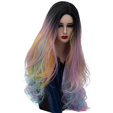 De la Mujer sintético peluca largo onda natural oro rosa Ombre pelo natural pelucas peluca Halloween