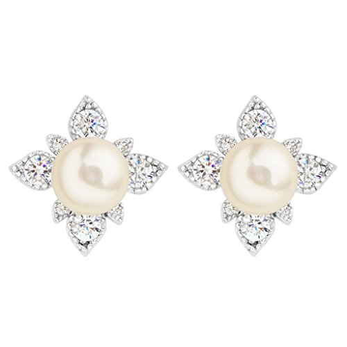 EleQueen 925 Sterling Silver CZ 8 mm AAA Button Cream Freshwater Cultured Pearl Leaf Bridal Stud Earrings