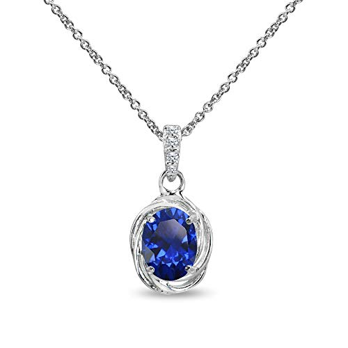 Sterling Silver Created Blue Sapphire & Cubic Zirconia 8x6mm Oval Love Knot Pendant - Blue Pendant Oval