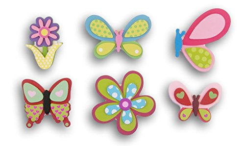 Natural Wood Painted Butterfly Spring Themed Cutouts - 6 Piece Assortment