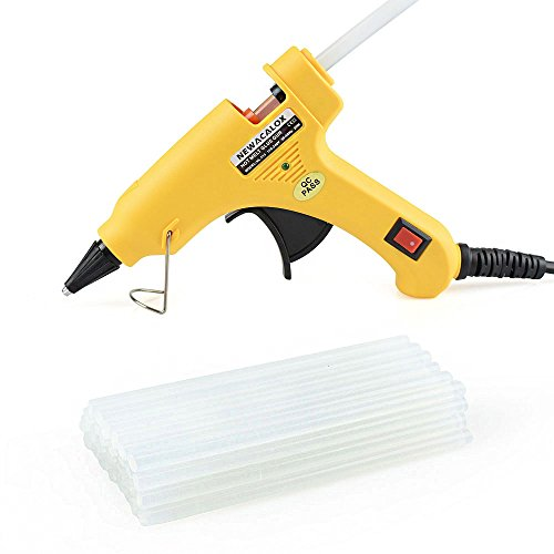 Mini Hot Melt Glue Gun Kit with 30pcs Glue Sticks,Holding Stand and Scald-proof Rubber Nozzle (20 Watts, Red) NEWACALOX (yellow)